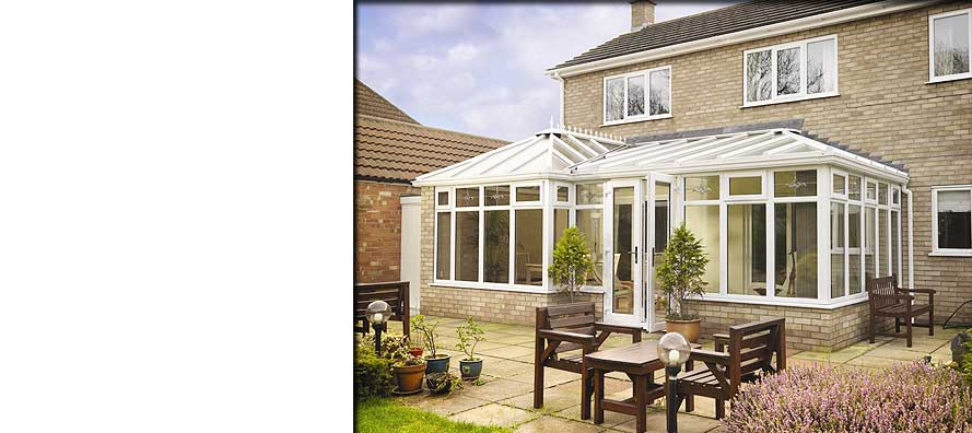corner view of large spacious upvc conservatories in diamond white in chesterfield