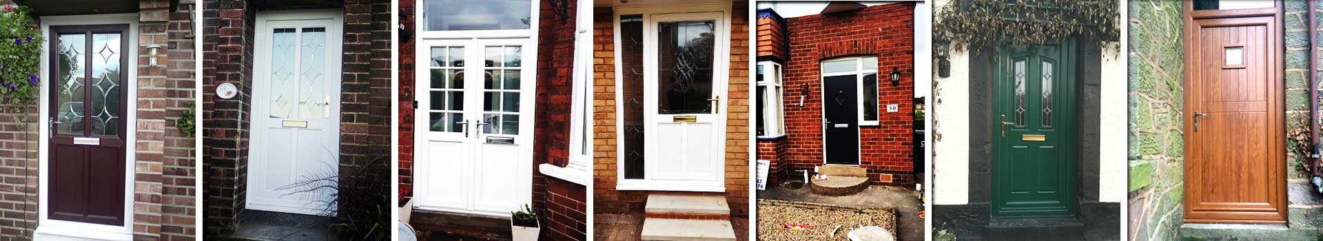 close up of three replacement exterior doors in white and black showing the variety of our doors styles